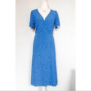 Lulu's Maretta Blue + White Floral Wrap Dress Sz S